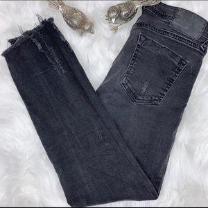 Zara Basic Z1975 Black Raw Hem Skinny Jeans Size 2